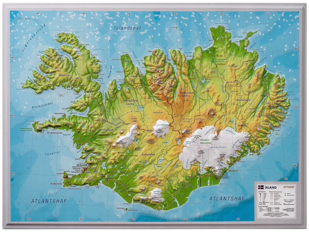 Iceland A3 Relief map