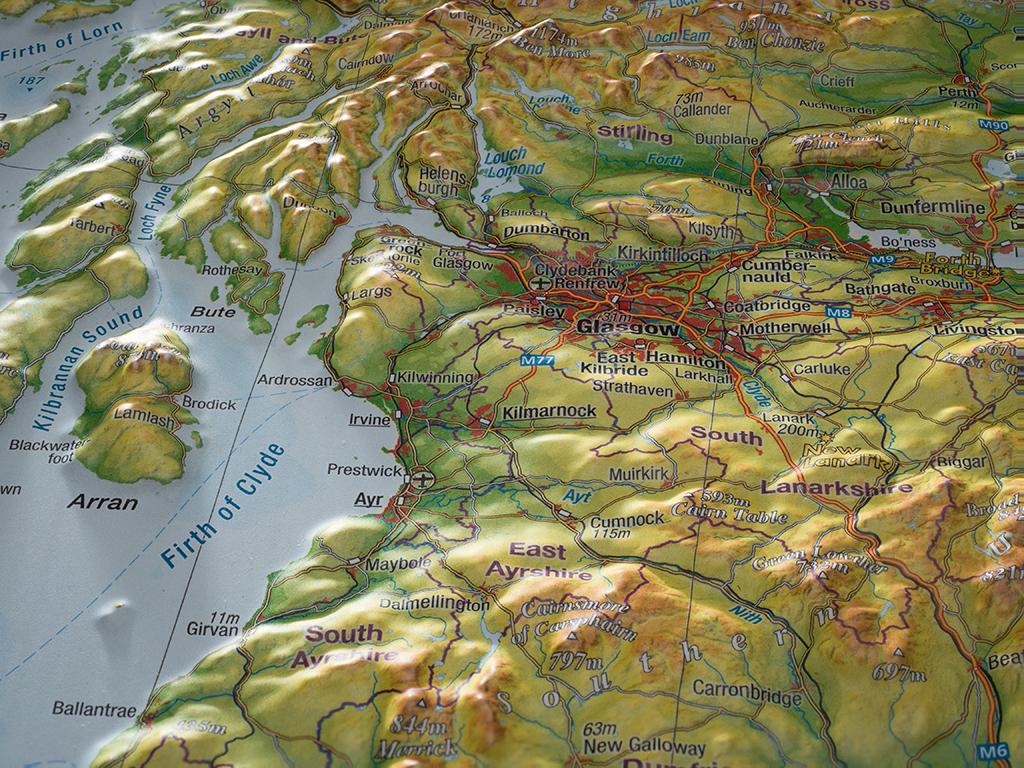 3d Relief Map Of Uk.Craenen Georelief