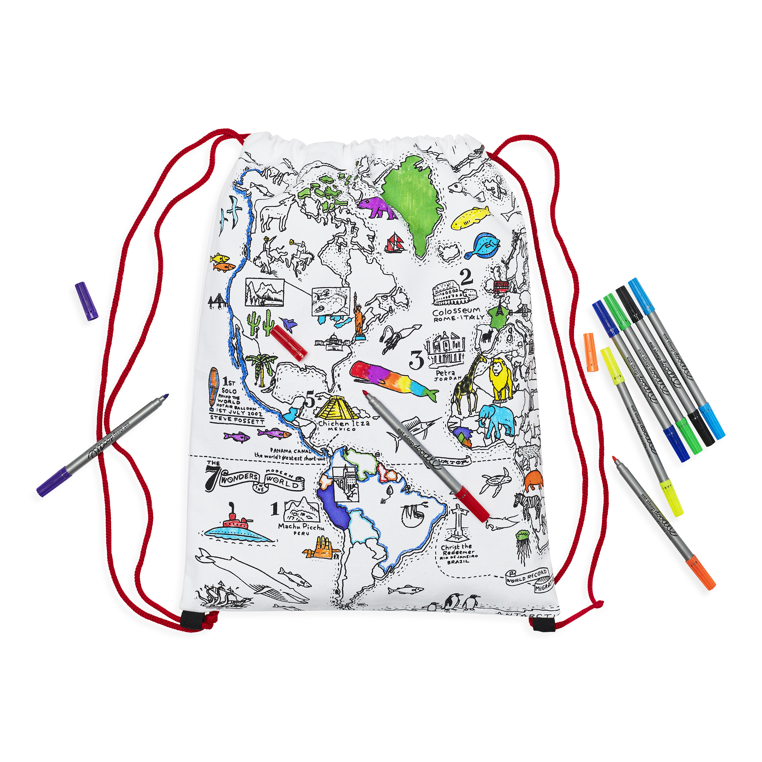 Craenen eat sleep doodle the world map illustration wraps round the bag like a globe so you can colour in both sides 100 cotton and complete with 10 wash out markers gumiabroncs Image collections