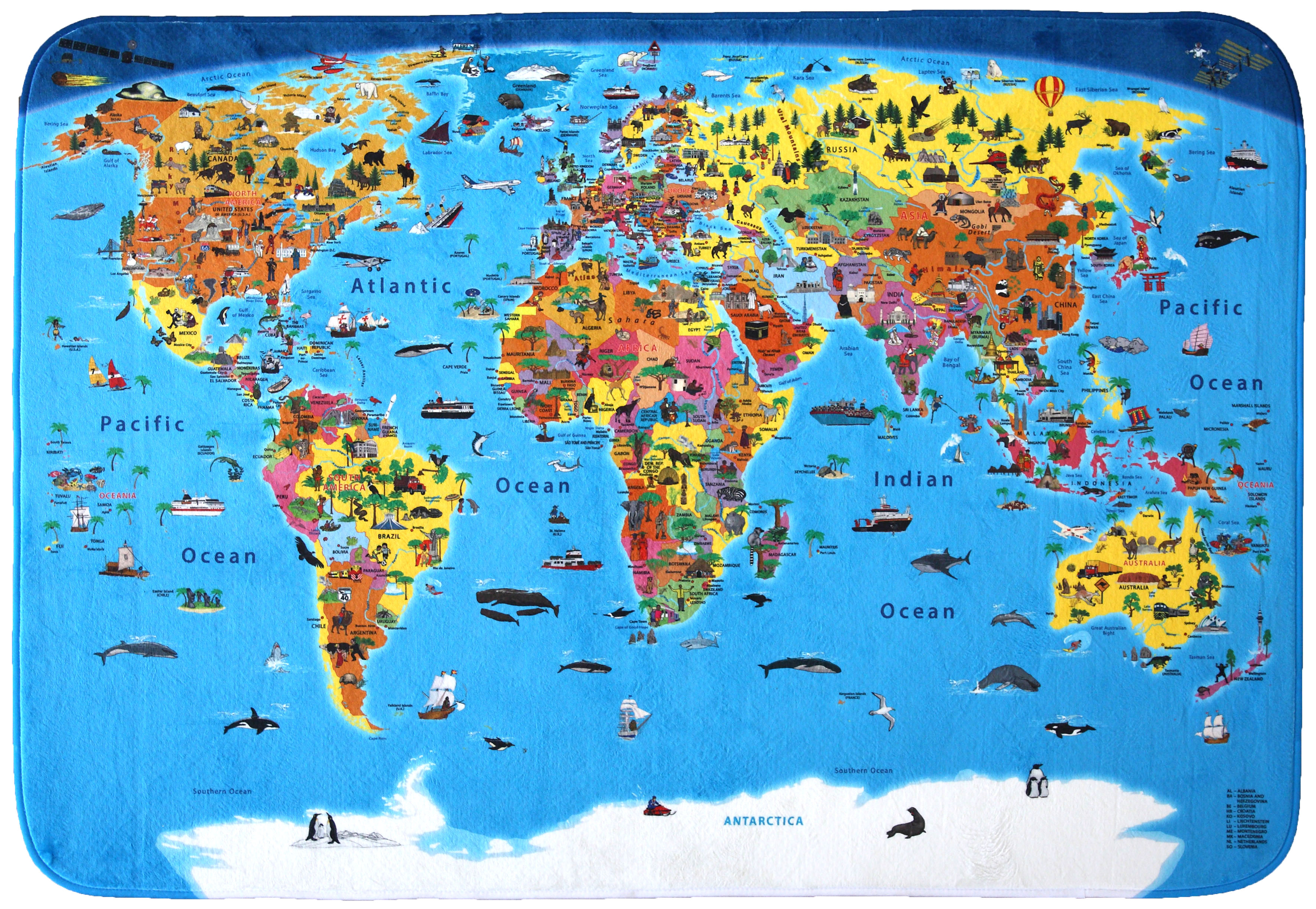 Craenen welcome illustrated political world map children in various designs soft play carpets gumiabroncs Images