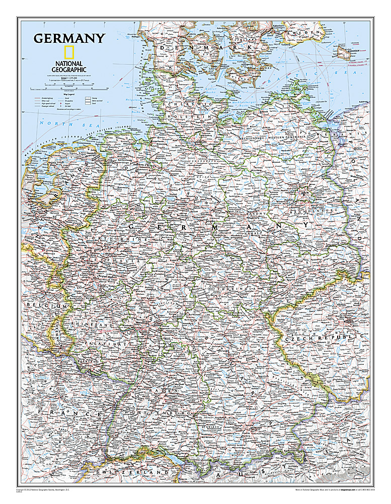Craenen National Geographic Flat Maps - Germany map high resolution
