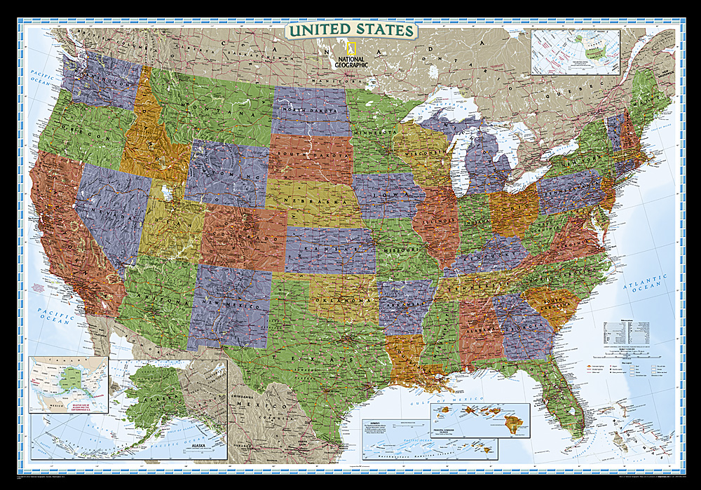 Craenen National Geographic Flat Maps - Very detailed us map
