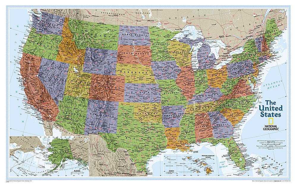 Craenen National Geographic Flat Maps - Us-flat-map