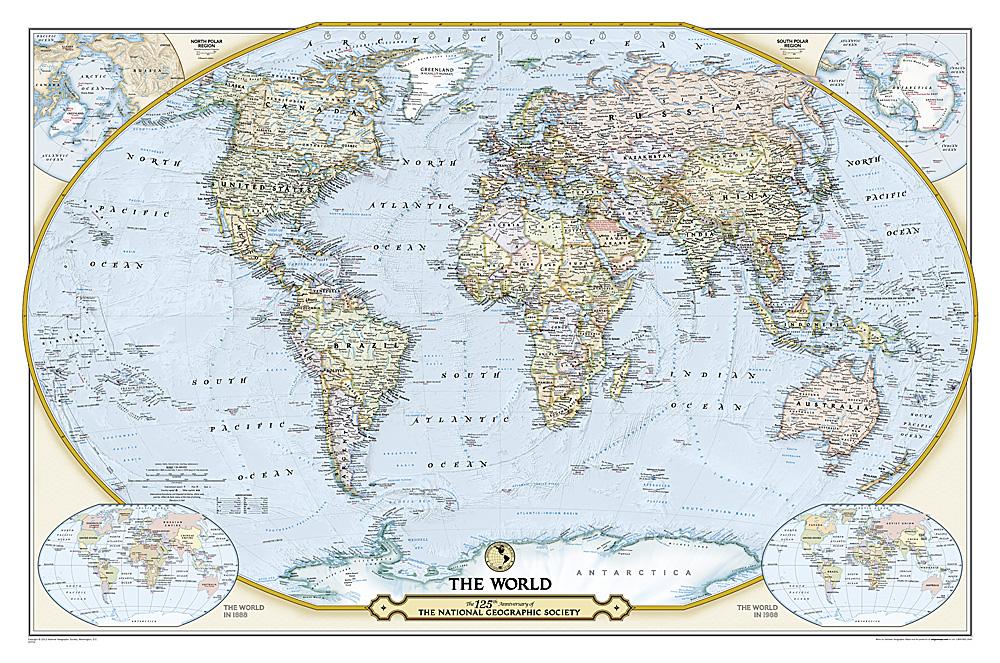 Craenen National Geographic Flat Maps - National geographic world satellite map