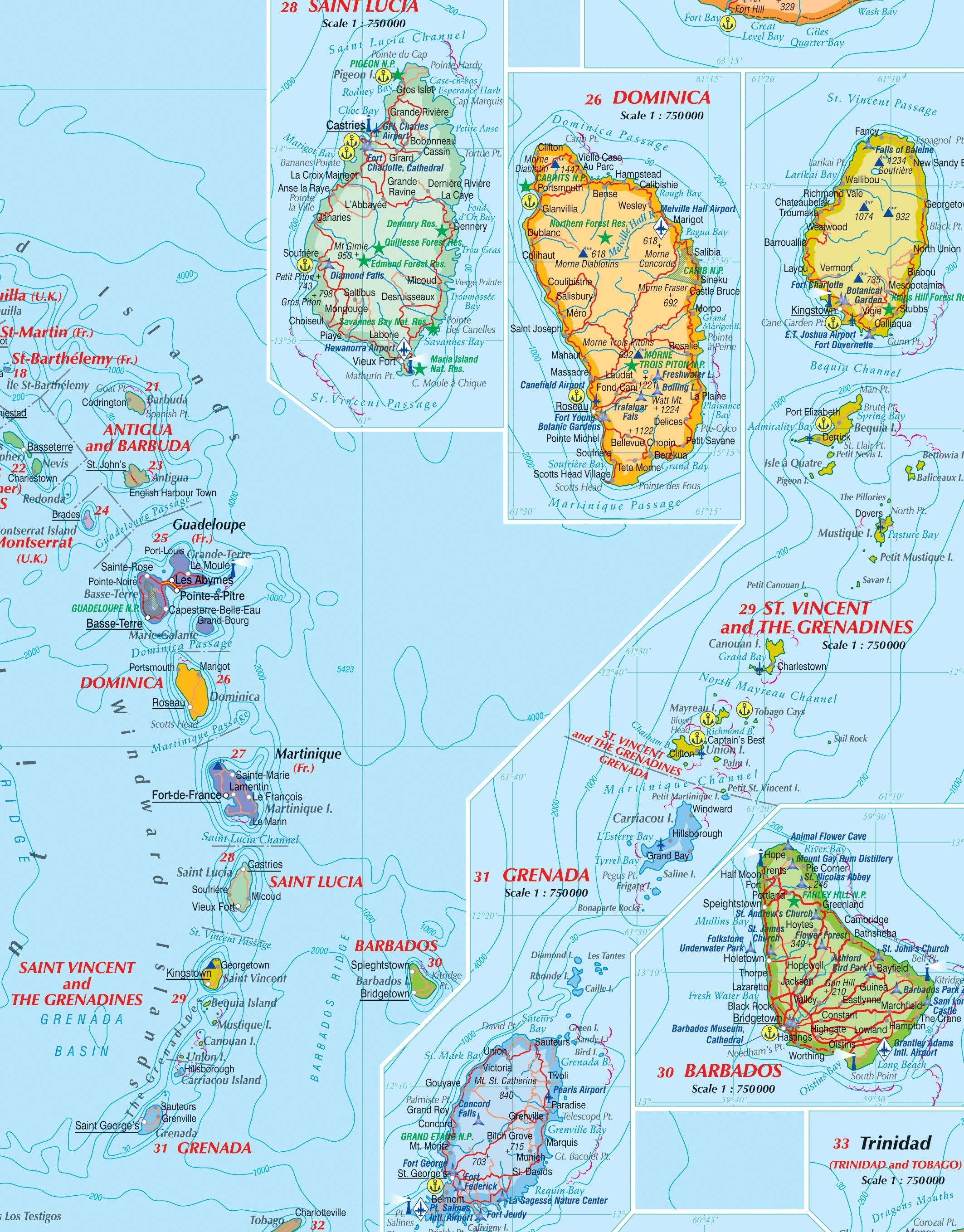 Craenen Kasprowski Maps - Map of central america and the caribbean islands