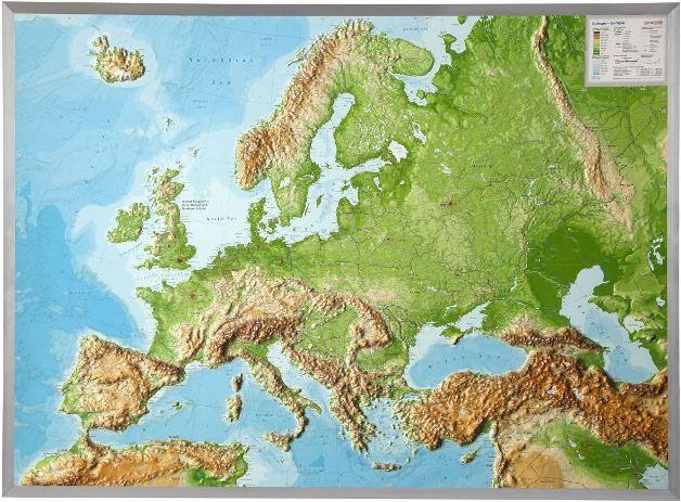 Craenen GeoRelief - Europe terrain map