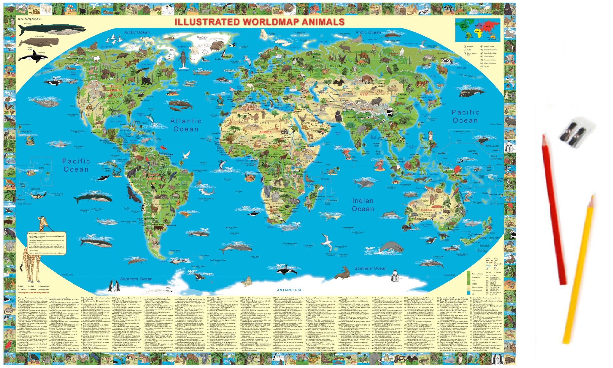 Map of the world illustrated map of the world illustrated world map animals deskpad gumiabroncs Gallery